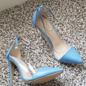 Blue/clear high heels